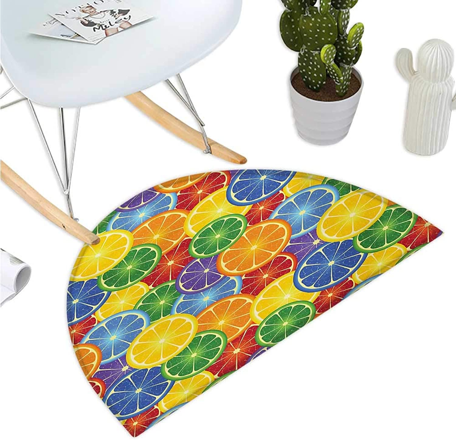 Abstract Semicircular Cushion colorful Slices of orange Tropical Fruit Rainbow color Fun Artful Design Bathroom Mat H 35.4  xD 53.1  Yellow bluee Green