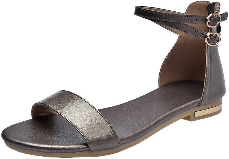 WeenFashion Women's Open-Toe Zipper Low-Heels Pu Solid Sandals, CA18LA03502