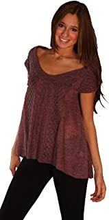 Qi Cashmere Alpaca Wool Scoopneck Sweater Shirt Purple