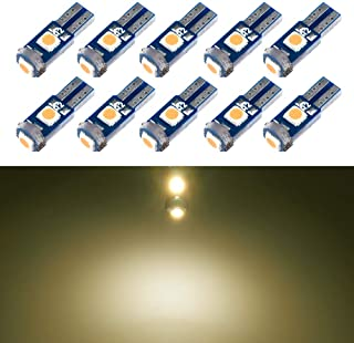 T5 LED Bulb Dashboard Dash Lights Warm White 3030 SMD Wedge Base for Car Truck Instrument Indicator Air Conditioning AC Lamp Auto Interior Accessories Kit Bright 12V 1W 1 Year Warranty 10Pcs【1797】
