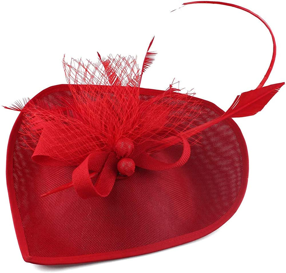 Fascinators Hats Hat Pillbox Hat Cocktail Tea Party Headwear with Veil for Girls and Women Mesh Heart Hat Hair Accessories-Red