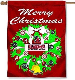 Alabama Crimson Tide Merry Christmas Wreath Banner Flag