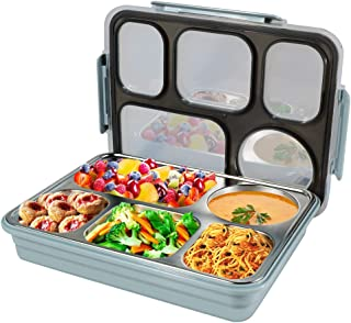 ZIONOR Bento Lunch Box Leakproof 5-Compartment Lunch Container, BPA-Free Food Containers for School Office, Food Storage Boxes for Kids Adults Women Men, Blue