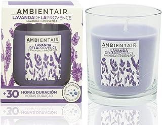 Ambientair. Vela aromática de Lavanda. Vela perfumada con cera vegetal y perfume natural con una duración estimada de 30 horas. Disfruta de la aromaterapia en tu casa con esta vela en vaso de cristal.