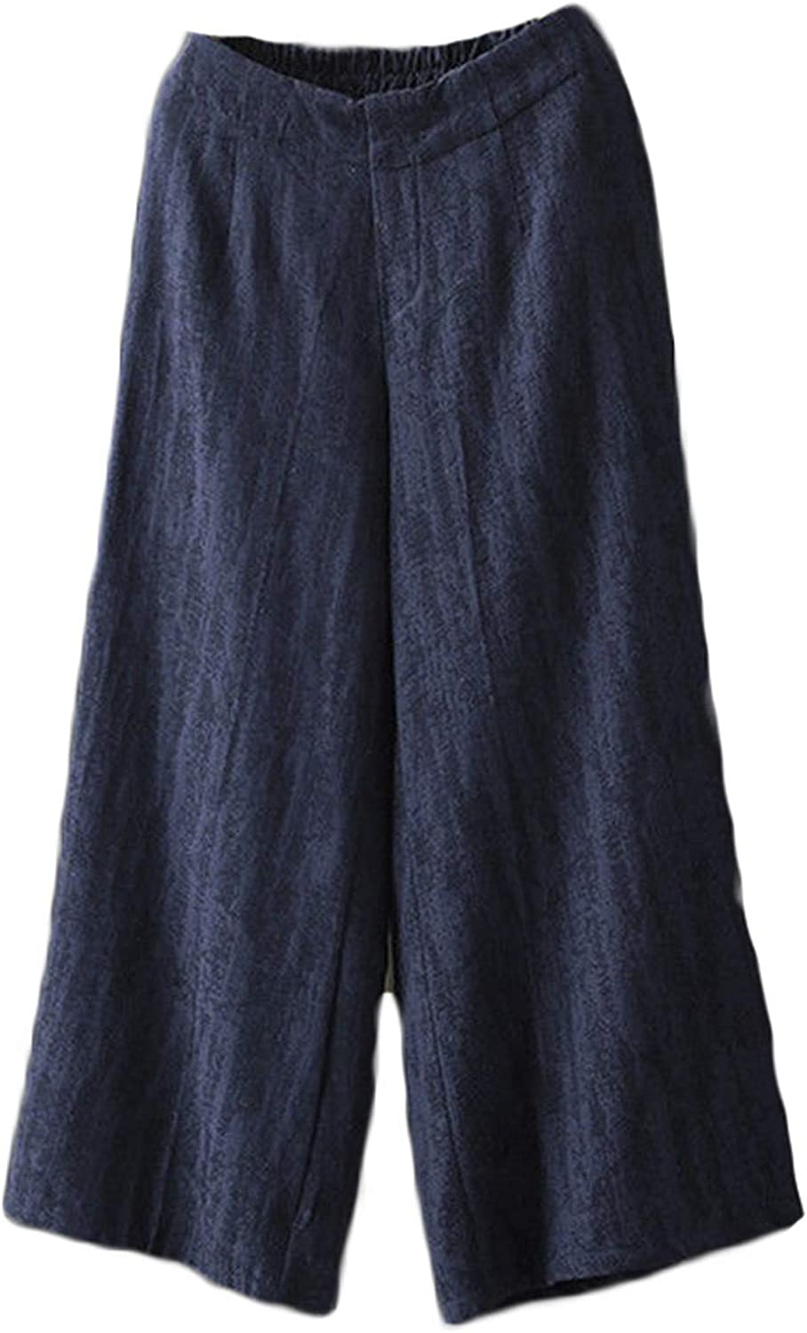 Andongnywell Women's Solid Color Casual Linen Wide Leg Pants Looses Elastic Waisted Palazzo Trousers