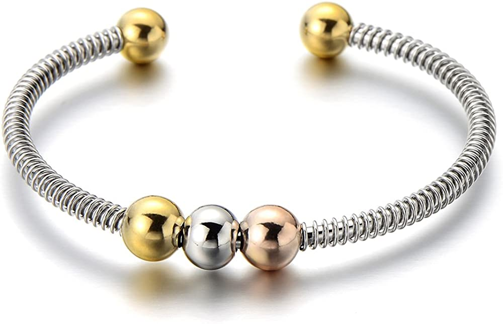 COOLSTEELANDBEYOND Elastic Adjustable Stainless Steel Charm Bangle Cuff Bracelet for Women and
