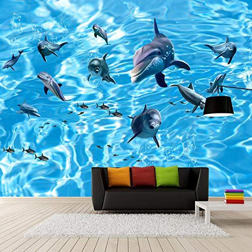 ZDBWJJ Kinderkamer 3D Onderwater Wereld Dolfijn Haai TV Achtergrond Fotobehang 3D Muur Papieren Home Decor 120cmx100cm