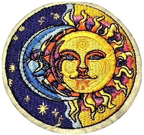 b2see Aufnäher Bügelbild Aufbügler Iron on Patches Applikation Sonne Mond und Sterne 8 cm