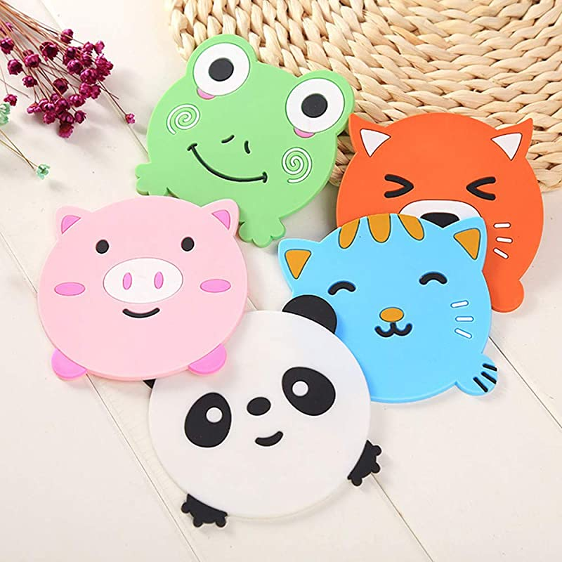 Joyfree 5PCS Silicone Rubber Coaster Colorful Animal Coaster Cup Mat For Drinks Durable Non Slip Hot Pads Protection Furniture Damage For Home And Kitchen Use