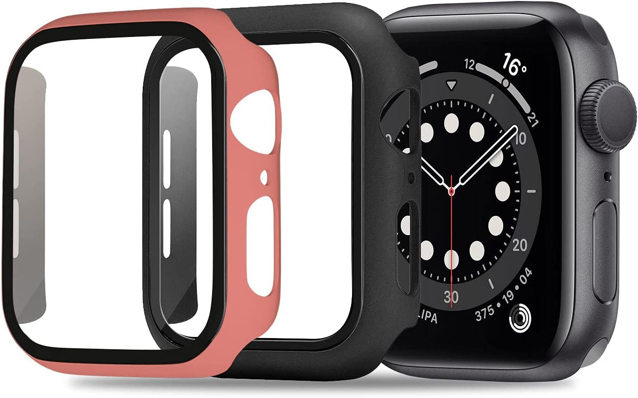 ULUQ Case Compatible with Apple Watch Series 6/5/4/SE 44mm Built in HD Screen Protector, 2 Pack Ultra-Thin Hard All-Around Protective Cover