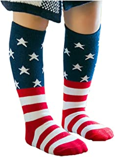 Kids USA Flag Socks Casual Crew Fashionable Cotton Striped and Star Socks