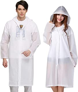 Rain Poncho for Adults, 2 Pack Reusable Raincoat Emergency Rain Gear Jacket with Hoods and Sleeves 47.2