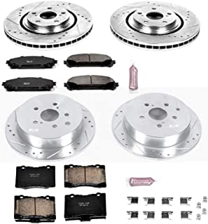 Power Stop K5828 Front & Rear Brake Kit with Drilled/Slotted Brake Rotors and Z23 Evolution Ceramic Brake Pads