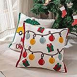 4 fundas de almohada de 45,7 cm con bordado de Navidad, funda de...