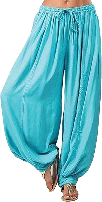 LEIYAN Womens Wide Leg Pants Casual Elastic Waist Baggy Fit Palazzo Harem Pants Summer Beach Hippie Pants Plus Size