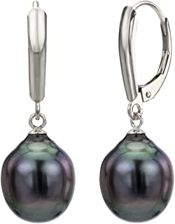 Baroque Cultured Tahitian Black Pearl Earrings Leverback Jewelry for Women 10-10.5mm in 14k Gold or Sterling Silver