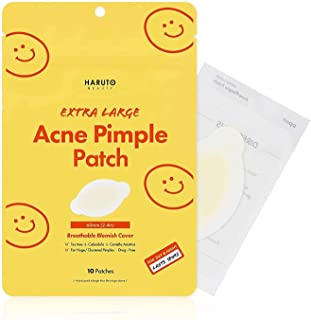 Haruto Extra Large Acne Pimple Patch - 10 Patches, Tea Tree, Calendula, Cica (Centella Asiatica), Hydorcolloid Pimple Patch