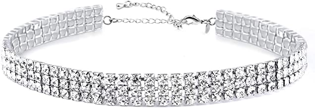 My Lady 3 Rows Adjustable White Rhinestone Choker Necklace for Women