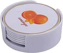 Kuber Industries Orange Design 6 Pieces Tea Coaster with Stand (White)