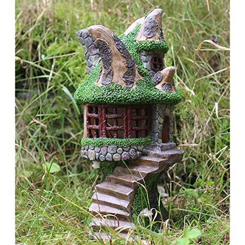 Ornamento decorativo de jardín con energía solar con hadas de casa del árbol que cambia de...
