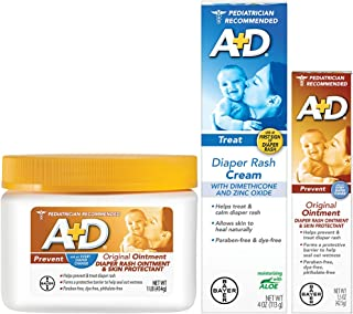 A+D Original Diaper Rash Ointment, Baby Skin Protectant With Zinc Oxide Diaper Rash Treatment Cream, Dimenthicone 1%, Zinc Oxide 10% and Original Diaper Rash Ointment, Skin Protectant