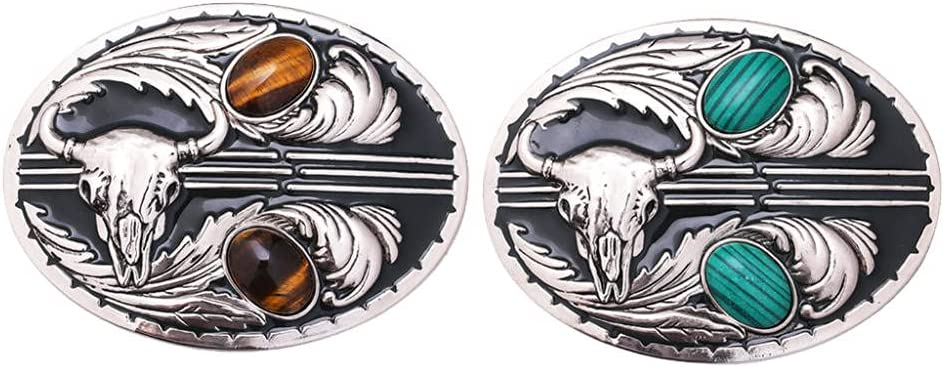 Jiazhenghe bolo tie Max 90% OFF 2Pcs Animer and price revision Retro Gem Embossed Belt C Inlaid Buckle