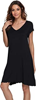 Women's V Neck Nightshirt Short Sleeve Nightgown