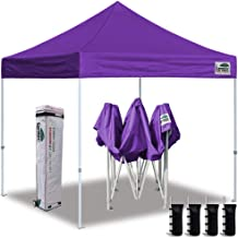 Eurmax 10'x10' Ez Pop Up Canopy Tent Commercial Instant Canopies Heavy Duty Roller Bag,Bonus 4 Sand Weights Bags(Purple)