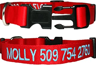GoTags Personalized Dog Collars, Custom Embroidered Pet ID, Available in Soft Leather with Rounded Edges for Comfort Fit or Woven Nylon with Snap Closure Buckle, Great Alternative to Pet Tags