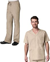 Red Panda Men's 3 Pocket V-Neck Top & Full Elastic 10-Pocket Cargo Pant Scrub Set