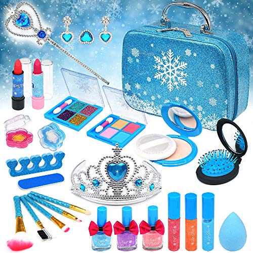 Kids Makeup Kit Girls Toy - Washable Makeup Set for Girls Non Toxic Real Make Up for Toddler Children Princess Beauty Toys for 4 5 6 7 8 9 10 Year Old Girl Christmas Birthday Gifts.