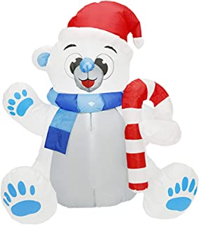 Christmas Decorations 1.2m Christmas Outdoor Inflatables Bear with LED Light Cute Light up Christmas Inflatable Doll for G...