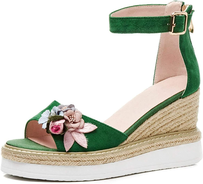 Wedge Sandals Women Ankle Strap Genuine Leather High Heel Platform Sandals Flower Straw Heels Summer Fisherman shoes