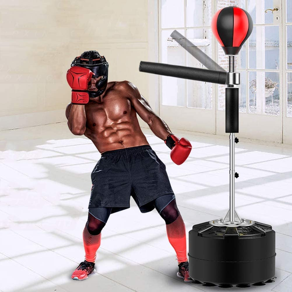 Reflex Spinning Bar Height Adjustable Sparring Boxing Kicking Training VIKMKM 2 in 1 Boxing Punch Bag Standing Adult