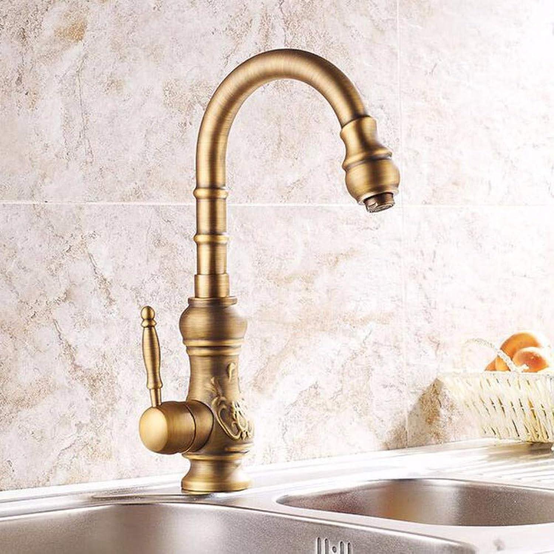 XHSSF-Kitchen tapredating European-Style Antique Kitchen Carved Retro Faucet