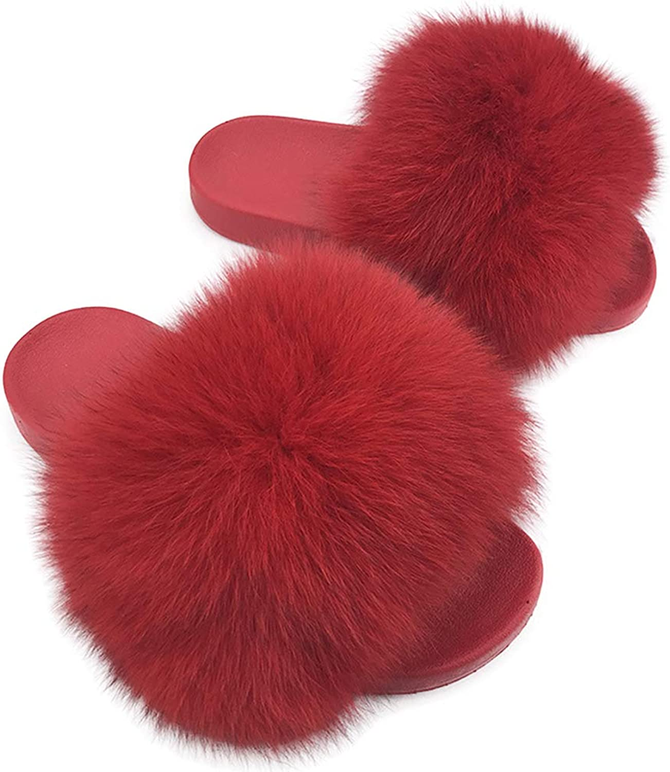 YUhe2018Cw Yu He Women Real Raccoon Fur Feather Vegan Leather Open Toe Single Strap Slip On Sandals Bright red 36