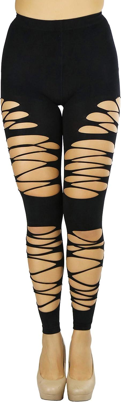 ToBeInStyle Women's Fishnet Slashed Leggings w/Footless Design