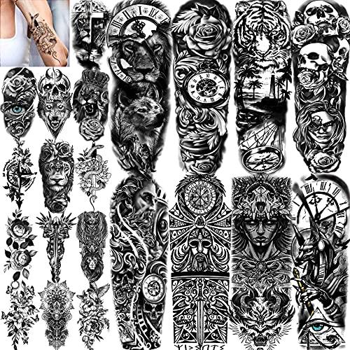 COKTAK 21 Blätter Extra Groß Schwarz Temporäre Tattoos Frauen Erwachsene Griechischer Mythos Mit 8 Blätt Tattoo Temporäre Ärmel Männer Maori Warrior Compass Und 13 Blatt Fake Tattoo Aufkleber Haut