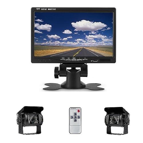 Camecho DC 12V 24V Vehicle Backup Camera System 2 x Rear View Camera Support Night Vision