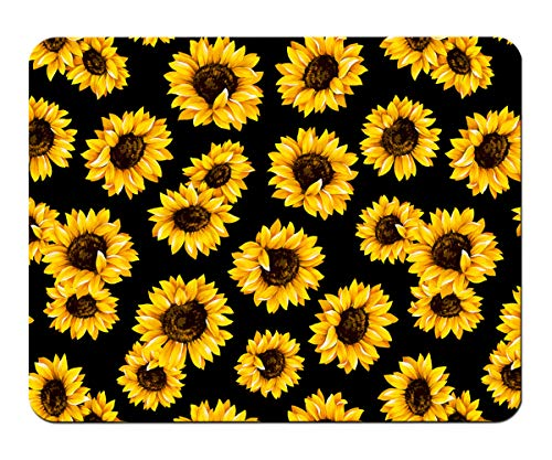 HEYGOO Black Mouse Pad, Sunflower Mouse Mat for Women, Non-Slip Rubber Base Mousepad, Waterproof Office Mouse Pad (blackSunflower)