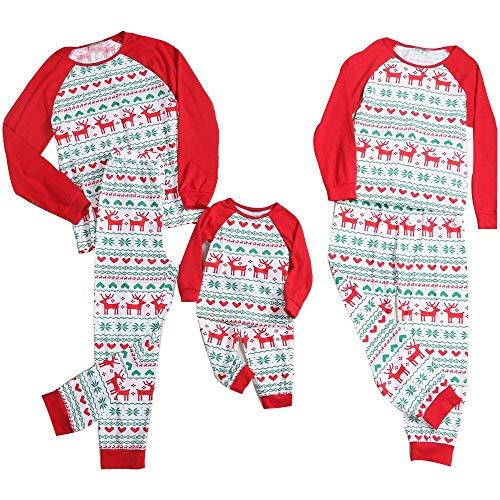 Snakell Weihnachten Schlafanzug Nikolaus Schlafanzug Familie Pyjamas Outfit Set Hirsch Druck Shirt Und Hosen Pyjama Set SchlafanzüGe Für Damen Herren Kinder Baby Familien Nachtwäsche Outfits