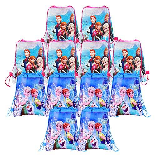 12 Pack Bolsas de Cuerdas para Infantil Frozen Mochila con Cordón Niños Bolsas Regalo Cumpleaños Deporte Gimnasio Backpack Niños Niñas Cumpleaños, Navidad, Fiesta