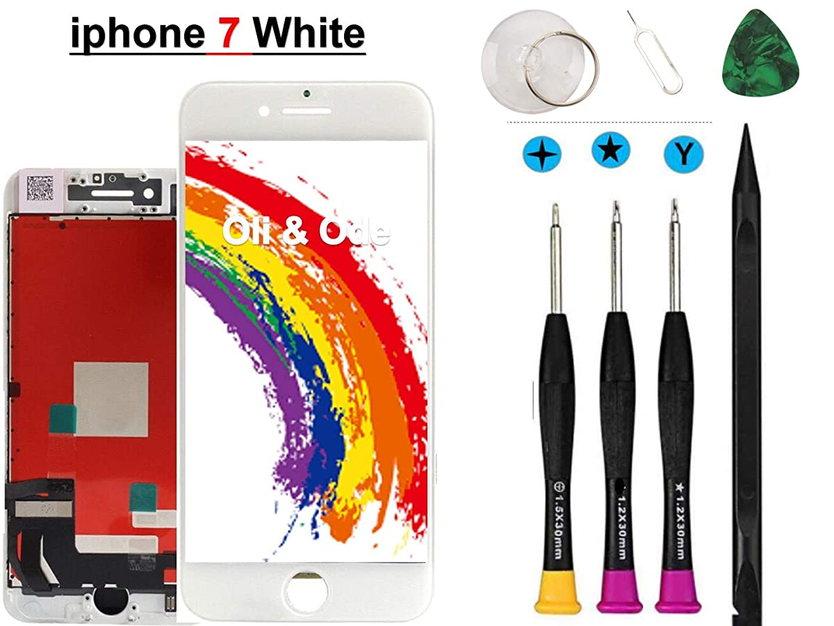 Oli & Ode Compatible with iPhone 7 Screen Replacement White (4.7 Inch), LCD Digitizer Touch Screen Assembly Set, Repair Tools Set Included (A1660/A1778/A1779)