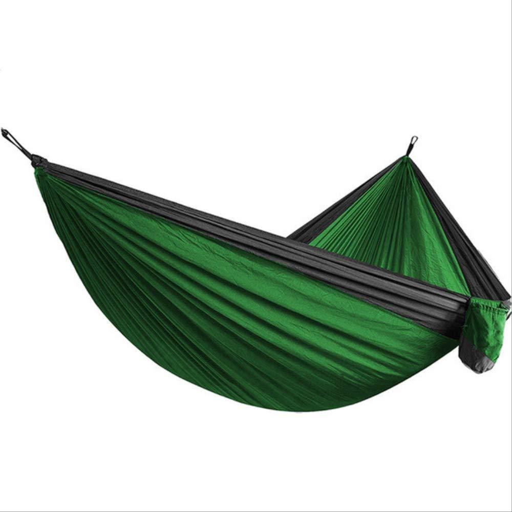 300kg Capacidad Carga 270 x 135 cm Nylon Paraca/ídas Secado R/ápido Hamaca doble Ligera Plegable port/átil Viaje Camping Naranja y verde