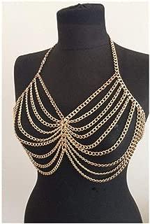 YSDHE Women Body Chain Jewelry Bikini Gold Beach Harness Slave Necklace Belly Chain Bra