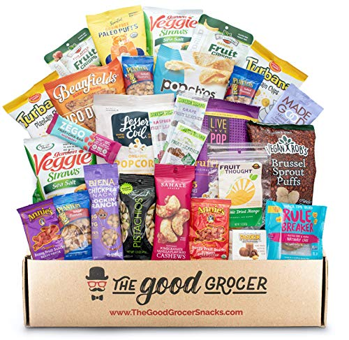 GLUTEN FREE and VEGAN (DAIRY and FIG FREE) Healthy Snacks Care Package (28 Ct): Vegan Snacks, Chips, Fruit, Nuts Trail Mix, Gift Box Sampler, Office Variety, College Student Care Package, Gift Basket