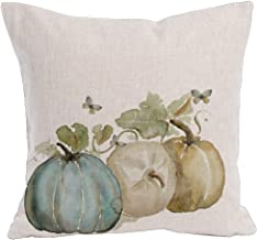 KACOPOL Watercolor Autumn Pumpkin Throw Pillow Covers Cotton Linen Pillowcase Cushion Cover Autumn Halloween Thanksgiving Home Office Decorative Square 18 X 18 (Pumpkin & Butterfly)