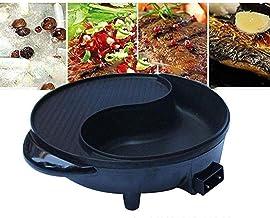 CHGDFQ Récipient chauffant multifonction anti-adhésif pour cuisine électrique Wok 1800 W Contrôle automatique Grill