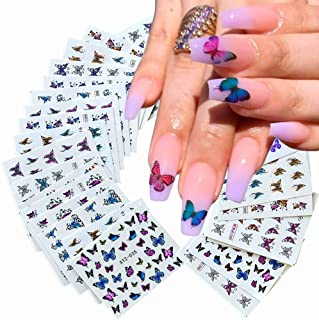 30 Sheets Butterfly Nail Art Stickers Colorful Butterflies Decals for Nails Art Design Water Transfer Decals Butterfly Nail Art Foil Sticker Female Trend Butterfly Acrylic Nail Art Supplies