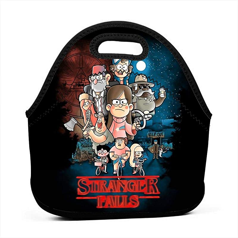 Another Gravity Falls Addict Stranger Falls Insulated Lunch Bag Tote For Adult Kids Reusable Soft Neoprene Personalized Lunchbox Handbag For Work School Picnic